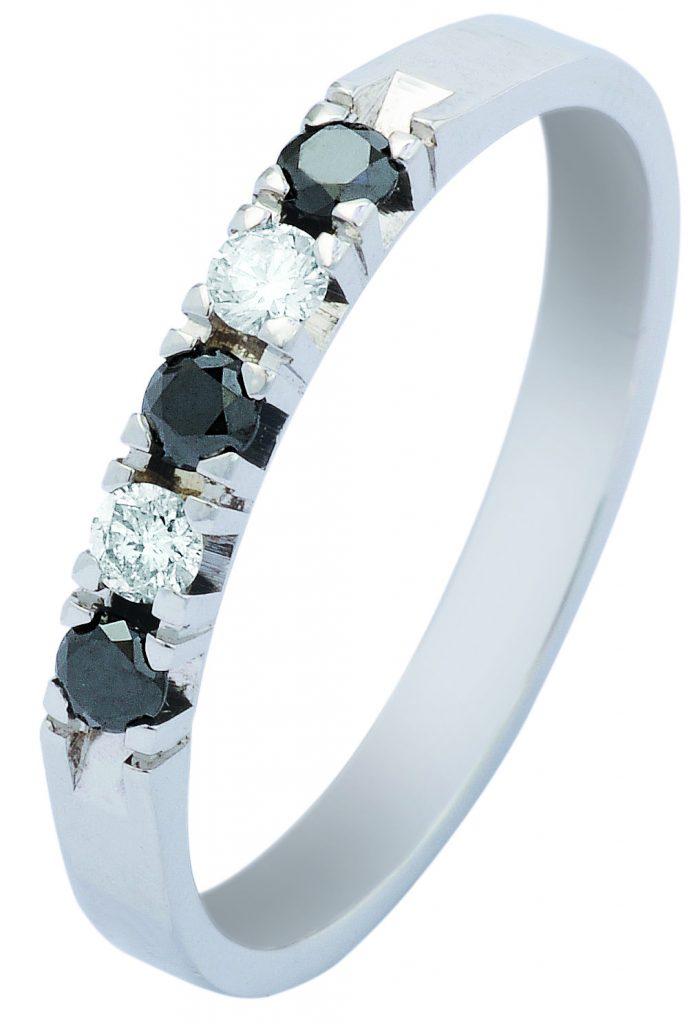 Gouden verlovingsring afbeeldingen witgouden blauw saffier briljant alliance ring foto107