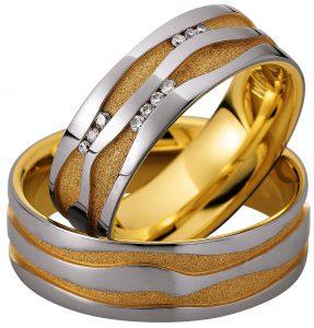 online trouwringen afbeeldingen en fotos bicolor gouden trouwringen briljant foto1