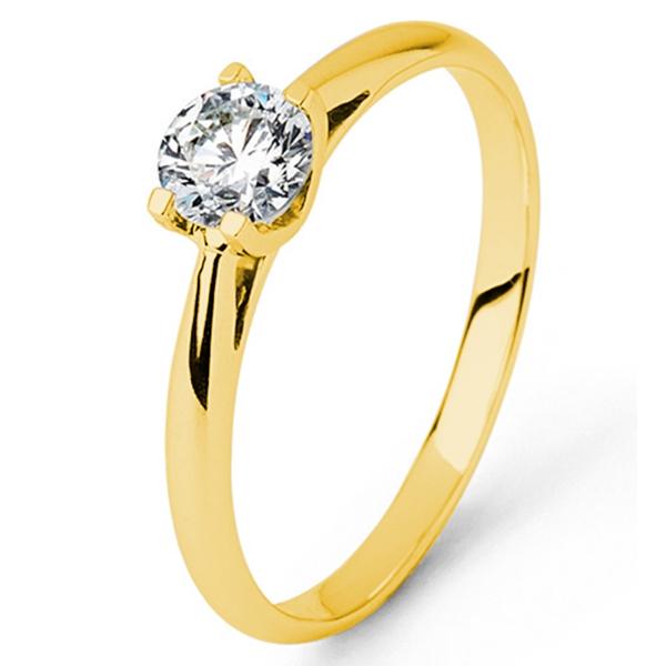 Gouden verlovingsring afbeeldingen geelgouden briljant solitaire ring foto104