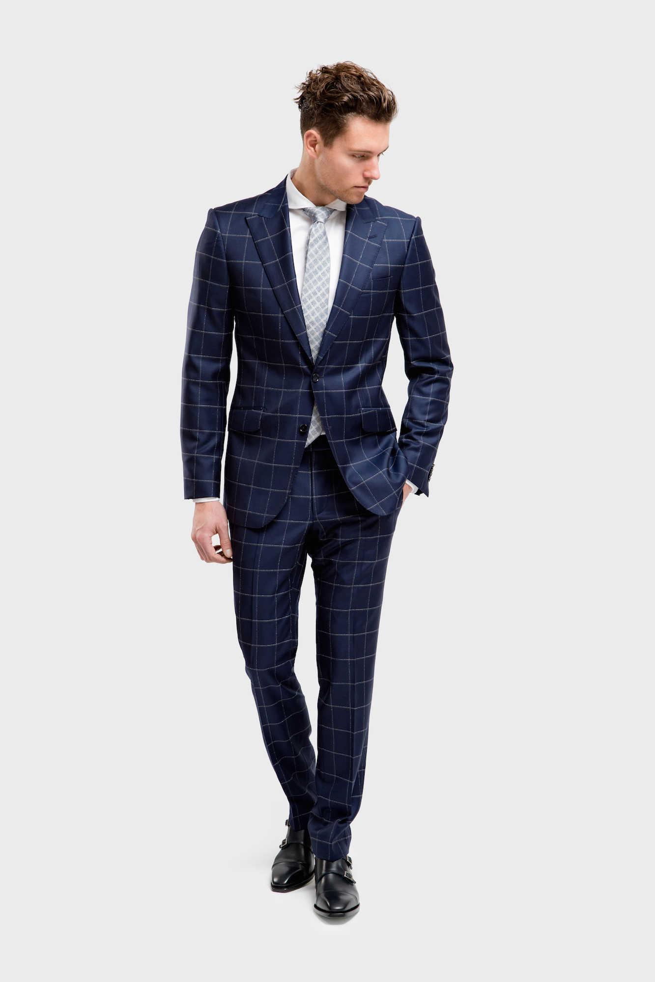blauw met grijs geruite trouwpakken TP0010